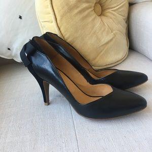 Sezane Black Leather/Suede Heels